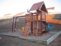 backyard landscape idea with playground feat wooden diy treehouse on sandbox