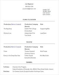 Beginning Actors Resumes Meloyogawithjoco Stunning Resume For Actors Beginners