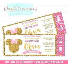Custom Mickey Mouse Invitations Best First Birthday Ticket Template ...