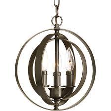 progress lighting equinox antique bronze single transitional orb pendant light