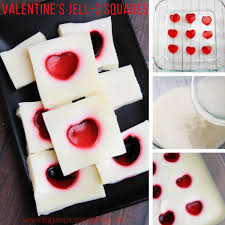 heart cut out jell o squares sugar