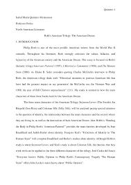 essay roth trilogy  quintero 1 isabel maria quintero montesinos professor perles north american literature roth s american trilogy