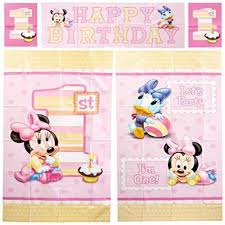 disney minnie mouse 1st birthday wall decoration kit scene setter decorations