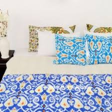 Cheap Handmade Quilts | Royal Furnish & Blue Multi Paisley Print Cotton Ikat Kantha Quilted Bedspread Blanket Adamdwight.com