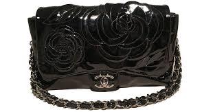 chanel black patent leather camellia flower classic flap shoulder bag in black lyst
