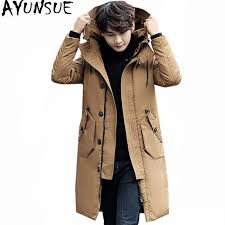 ayunsue 2018 high quality mens white duck down jacket warm winter coat hooded mens jackets long
