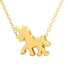unicorn pendant necklace gold