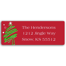 Christmas Tree Labels Graphic Christmas Tree Red Return Address Labels