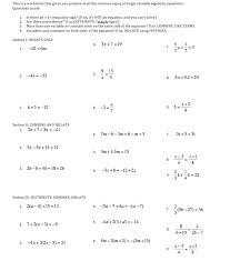 variable equations worksheet