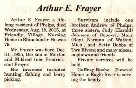 Dale Frayer Three Lakes Genealogical Society Obituaries 2015