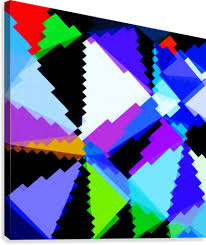 Purple Green Geometric Triangle And Square Pattern Abstract In Blue Purple Green