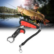 tomtop mini fish lip grabber gripper fishing lip grip tool fish holder with 55lb digital scale