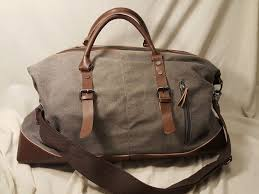 details about classic weekender duffle bag brown leather canvas quality zipper durable travel
