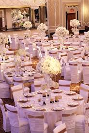 wedding decoration gold and white reception dcor photos all white chair covers with gold bands 723