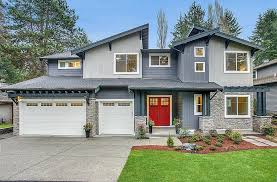 contemporary exterior of home with glass panel door