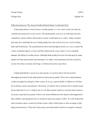 essay capital punishment nursing ethics essay ethics case study  reflection essay on the unquiet death of robert harris by micheal reflection essay on the unquiet