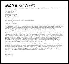 cover letter for manufacturing jobs assembly line worker cover letter sample livecareer