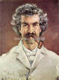 top handpaint art work oil painting usa author and humorist mark twain portrait
