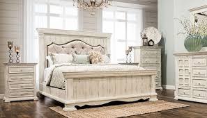 King Padded Bedroom set | Distressed White | king bed, dresser ...