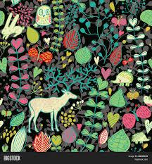 dark cute pattern wallpaper. Exellent Dark Autumn Seamless Pattern With Leafs Flowers Owl Rabbit Hedgehog  Butterflies And For Dark Cute Pattern Wallpaper K