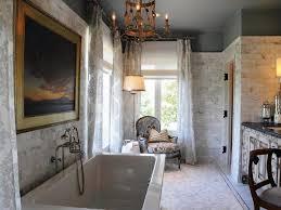 Marble Flooring Bathroom Bathroom Marble Wall Patterned Curtains Tile Walls Vanity Chair