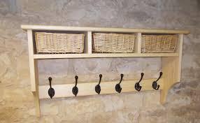 pine coat rack shelf with 3 storage baskets