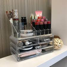 4 drawer jewelry cosmetic storage acrylic makeup organizer clear