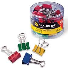 "Набор зажимов для бумаг ""<b>Brauberg</b>"", 48 штук, 25 мм, на 100 ..."
