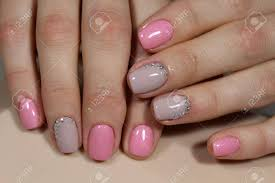 Light Pink Nails With Rhinestones Beautiful Light Pink Nails With Rhinestones Manicure Design