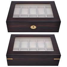 10 slot ebony cherry wood watch display case glass top jewelry 10 slot ebony cherry wood watch display case