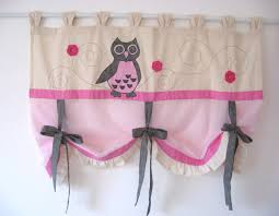 Owl Bedroom Curtains Pink Grey Cute Owl Tie Up Curtain Baby Girl Nursery Bedroom