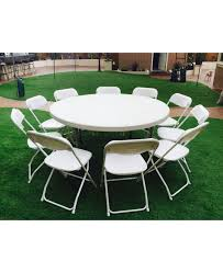 white round party table with 10 folding chairs package top view