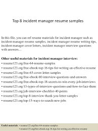 Experience On Resume Examples Top 8 Incident Manager Resume Samples