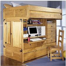 image of wooden kids bunk beds with desk