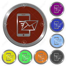 Email Buttons Set Of Color Glossy Coin Like Sending Email Buttons