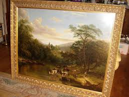 19th oil painting by thomas pritt cattle watering antique