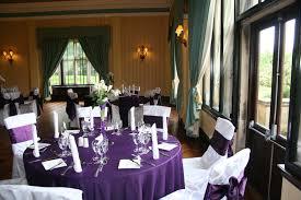 Dark Purple Table Linen, White Damask Covers & Dark Purple Sashes