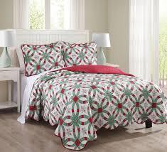 3 Piece Queen Snowflake Red and Green Quilt Set   Ease Bedding ... & 3 Piece Queen Snowflake Red and Green Quilt Set Adamdwight.com
