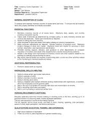 Inventory Skills Resume Inventory Control Resume Field Specialist Sample Resume Fax Sheet 16