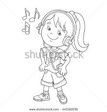 Small Picture Coloring Page Outline Cartoon Boy Girl Stock Vector 424589875