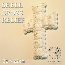 shell cross relief 31 22cm relief art object shell art object shell shell art art