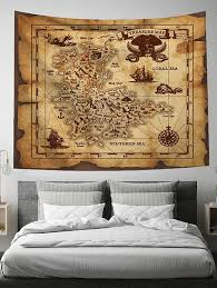 best retro treasure map print tapestry wall hanging art decoration