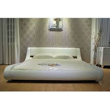 queen modern white upholstered platform bed with curved sides
