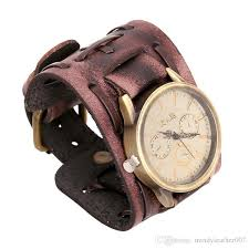 new men s stylish vintage genuine leather width wristband watches cowhide wrap bracelet punk wrisches xmas gifts best quality jewelry stylish watches