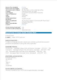 Resume Model For Experience Candidate Fresher Accountant Resume Format Templates At
