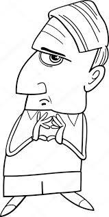 Denken Man Cartoon Kleurplaten Pagina Stockvector Izakowski