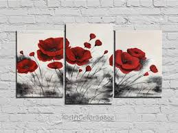 gift set of 3 canvas art red