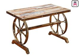 4ft 2ft plywood cast iron table base industrial style coffee table with wheel design