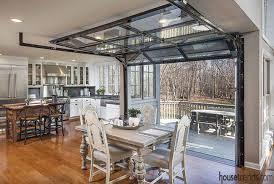 Glass garage door in kitchen Indoor Glass Garage Door Leads To Deck Pinterest Industrial Inspired Kitchen Remodel Kitchen Pinterest Glass