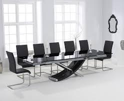 carlton black glass 210cm extending dining set with 8 boston black chairs